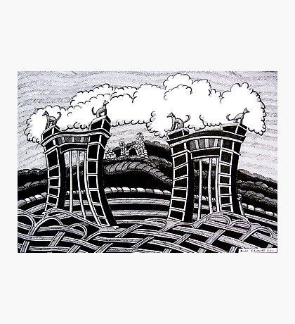 235 - ACTON HALL GATES, WREXHAM - DAVE EDWARDS - INK - 2011 Photographic Print