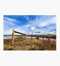 Fence On Flooded Land Photographic Print