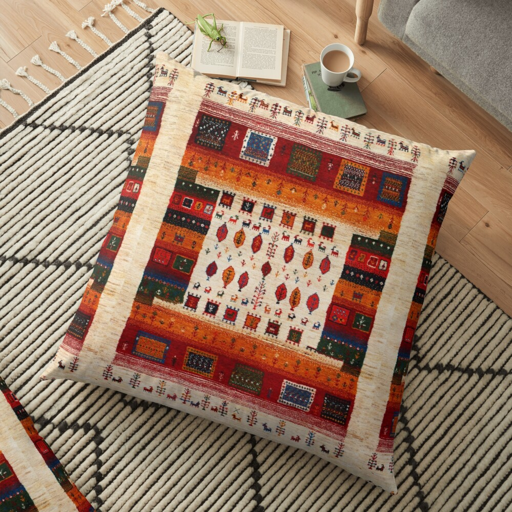 Traditional Moroccan Bohemian Artwork by ARTERESTING Floor Pillow