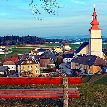 Bench with village scenery | landscape photography by patrickjobst