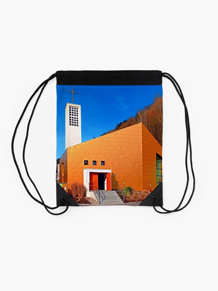 Alternate view of The village church of Obermühl 1 | architectural photography Drawstring Bag