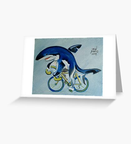 Shark on a Bicycle Greeting Card