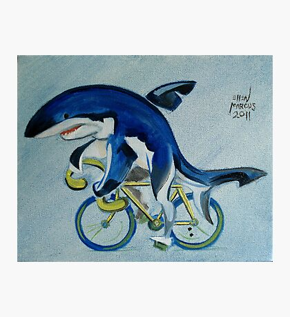 Shark on a Bicycle Photographic Print