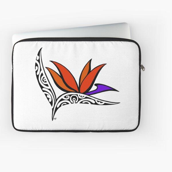Bird of Paradise flower in Polynesian tattoo style Laptop Sleeve