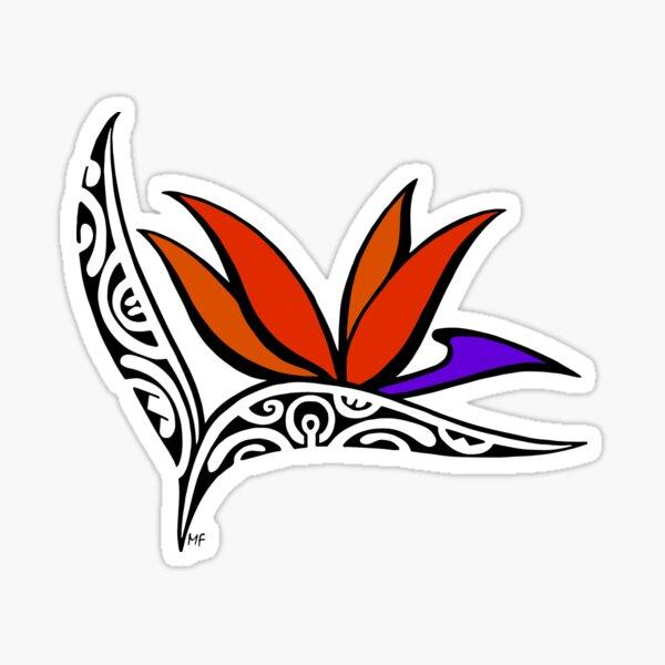 Bird of Paradise flower in Polynesian tattoo style Sticker