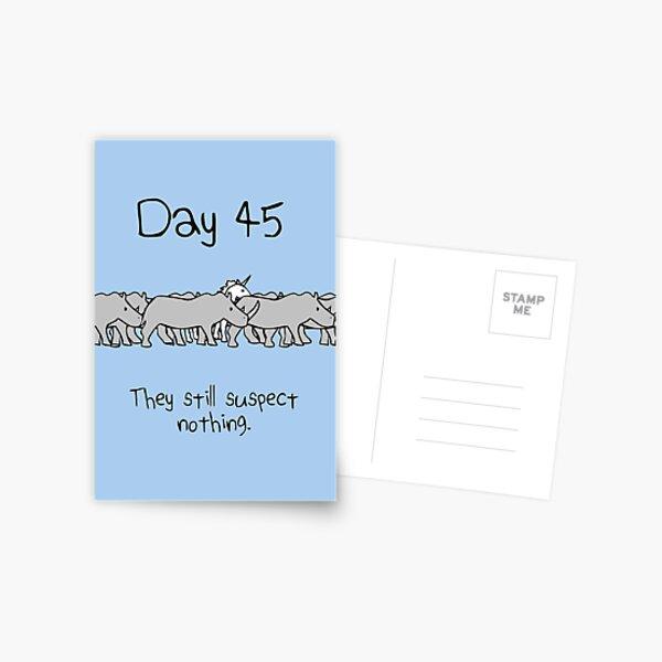 Day 45. They still suspect nothing. (Unicorn + Rhinos) Postcard
