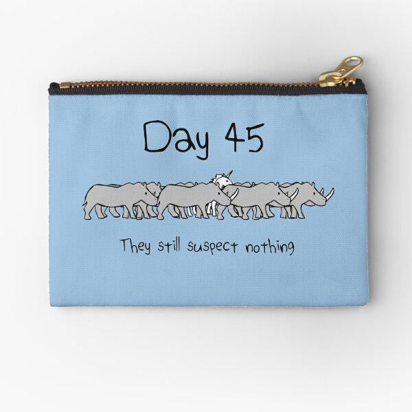 Day 45. They still suspect nothing. (Unicorn + Rhinos) Zipper Pouch
