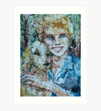 A Girl and Her Dog Art Print