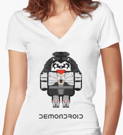 Demondroid Women's Fitted V-Neck T-Shirt