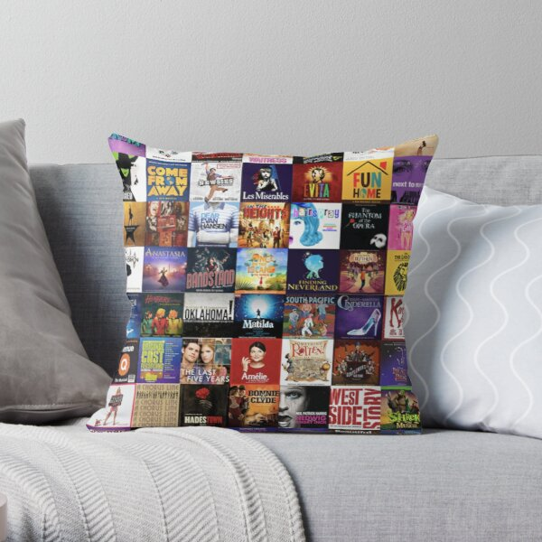 musicals collage Throw Pillow