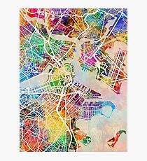 Boston Massachusetts Street Map Photographic Print