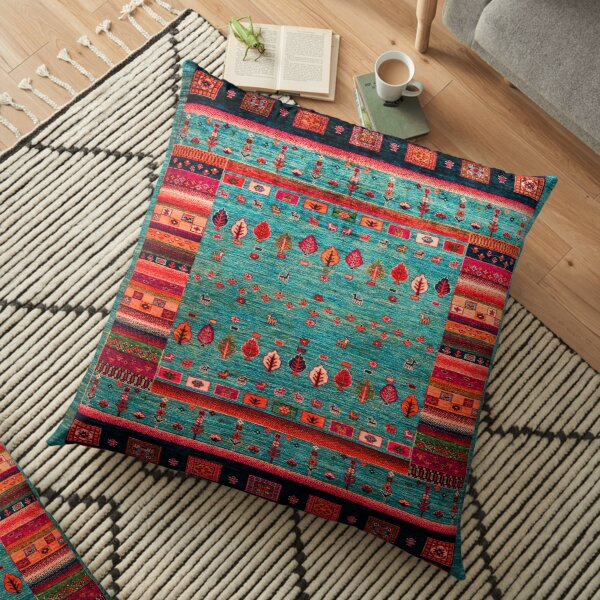 Epic Traditional Moroccan Calm Blue Artwork by ARTERESTING Floor Pillow