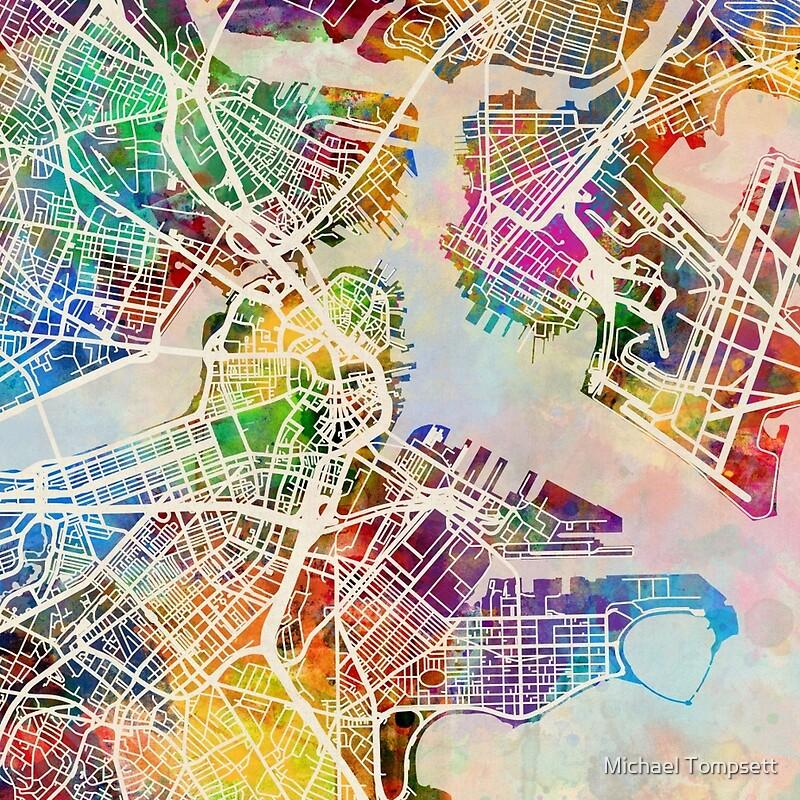 Boston Massachusetts Street Map Leggings by Michael Tompsett