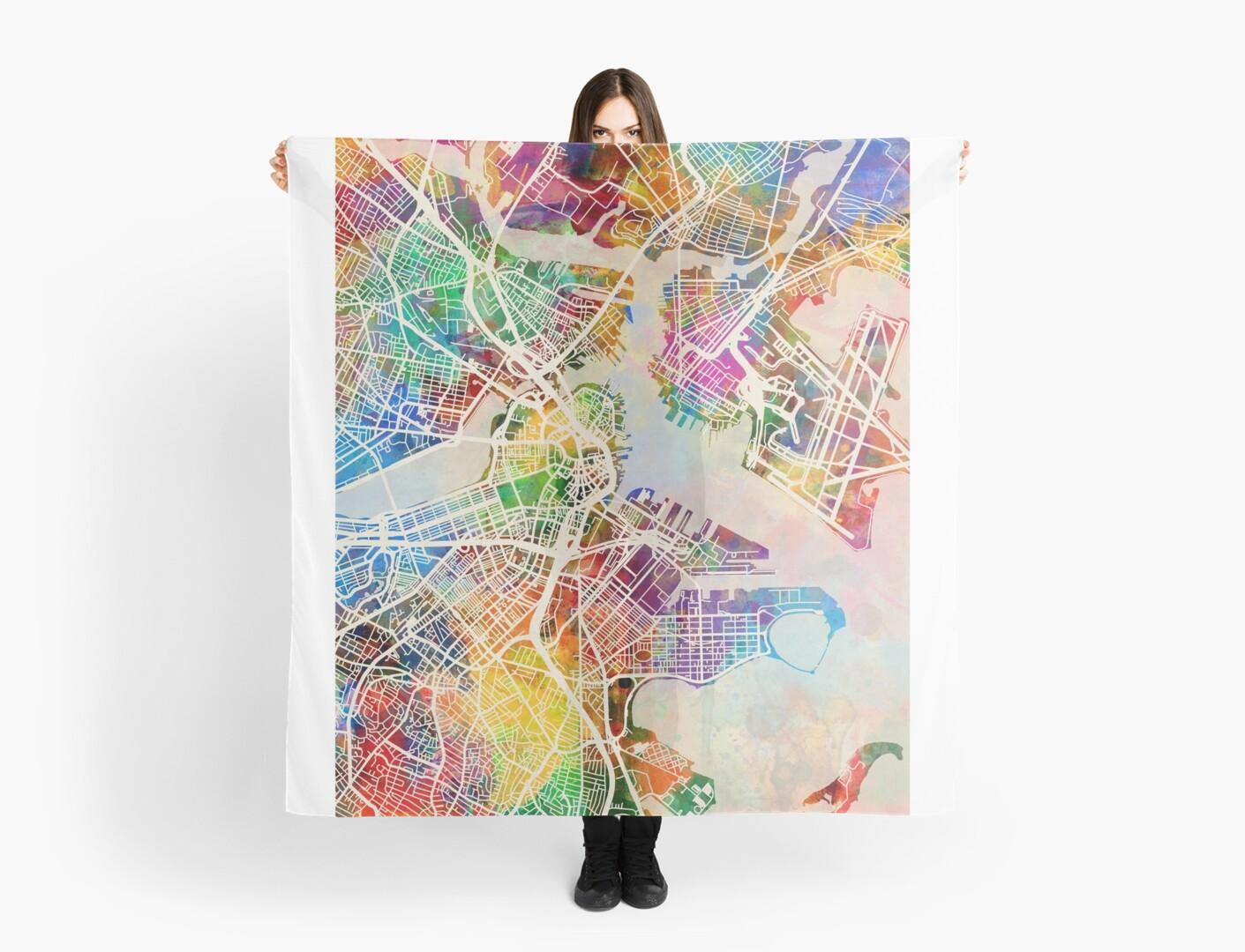 Boston Massachusetts Street Map Scarves by Michael Tompsett Redbubble