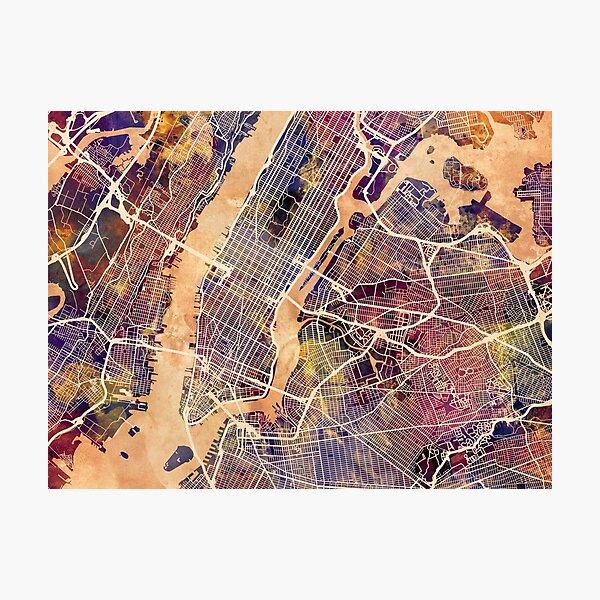 New York City Street Map Photographic Print