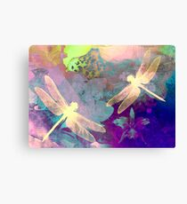 Painting Orchids & Dragonflies. Canvas Print