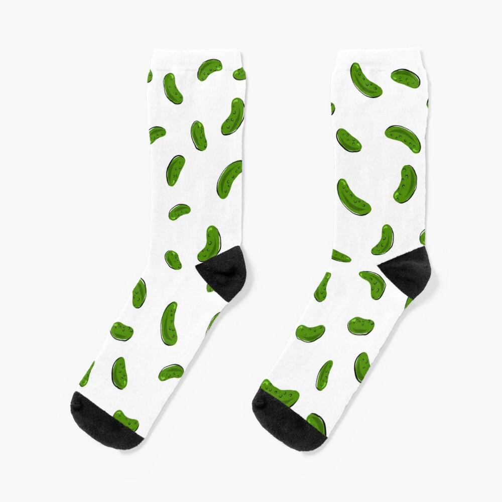 Pickle pattern (white background) Socks