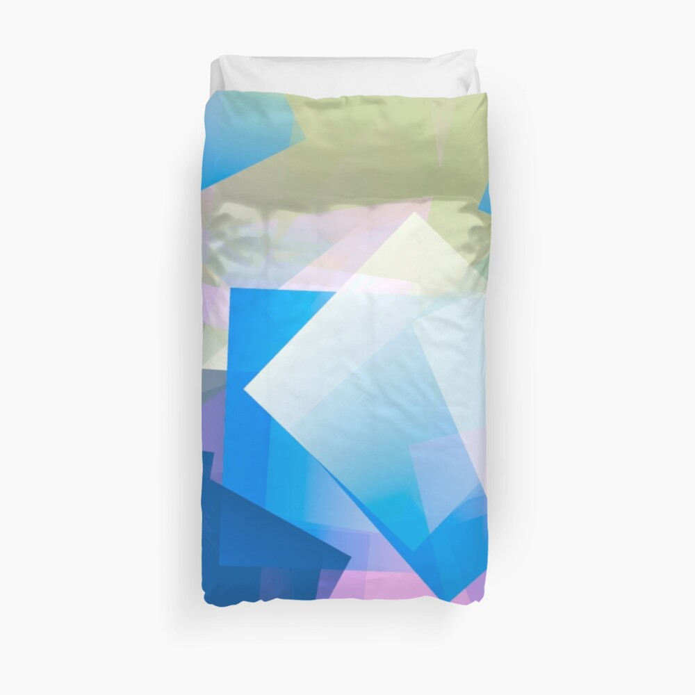 Cubic in Blue, Purple and Buff Duvet Cover