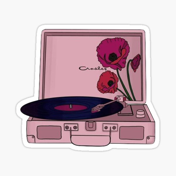 Pink Record Player Pegatina