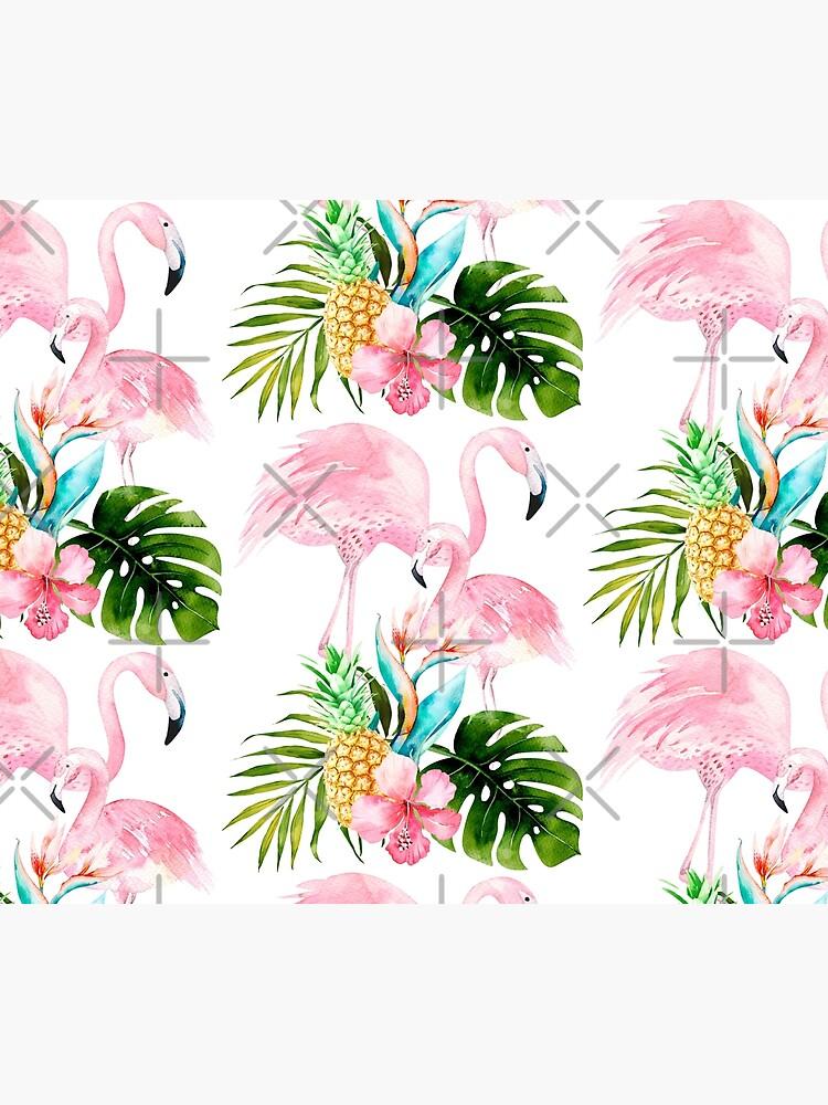 Pink Flamingo + Tropical Foliage + Pinapples by PixDezines
