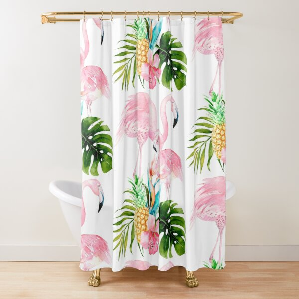 Pink Flamingo + Tropical Foliage + Pinapples Shower Curtain
