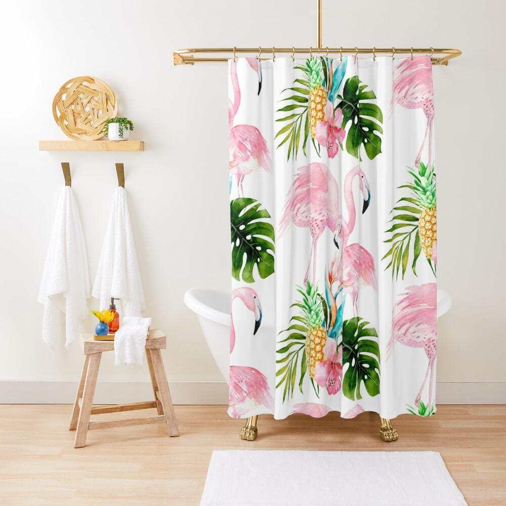 Pink Flamingo + Tropical Foliage + Pinapples Shower Curtain