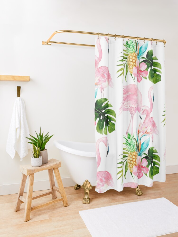 Alternate view of Pink Flamingo + Tropical Foliage + Pinapples Shower Curtain