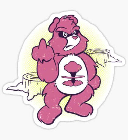 Don't Care Bear (pink) Sticker