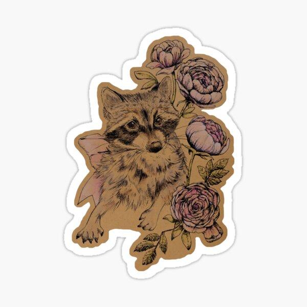 Raccoon with Peonies Sticker