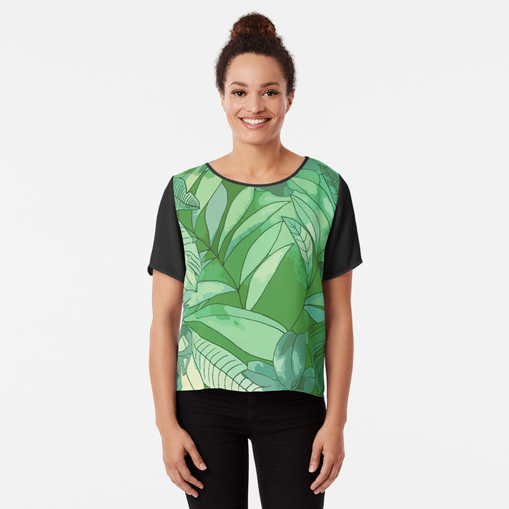 Green Jungle  Chiffon Top