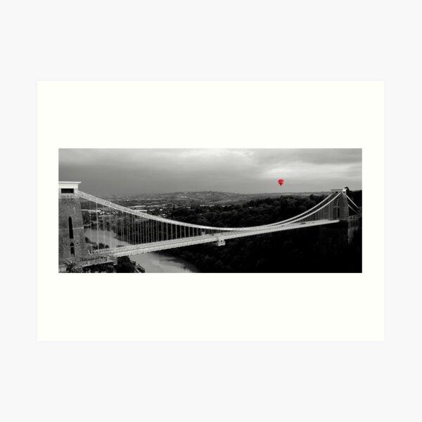 Red Balloon Over Clifton Suspension Bridge Art Print