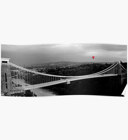 Red Balloon Over Clifton Suspension Bridge Poster