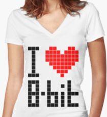 I Love 8-bit <3 Women's Fitted V-Neck T-Shirt