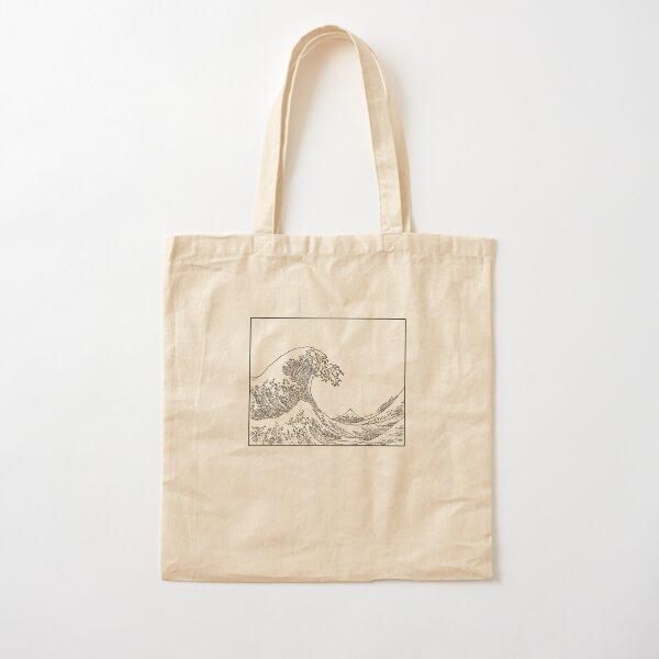 The Great Wave Off Kanagawa Black ink Cotton Tote Bag
