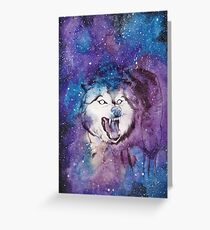 Galaxy Space Wolf Greeting Card