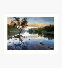Snowdonia - Snowdon reflections on Llyn Padarn Art Print