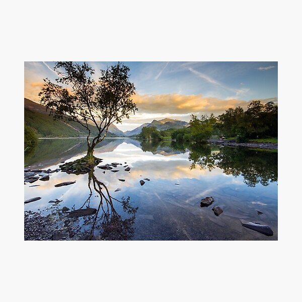 Snowdonia - Snowdon reflections on Llyn Padarn Photographic Print