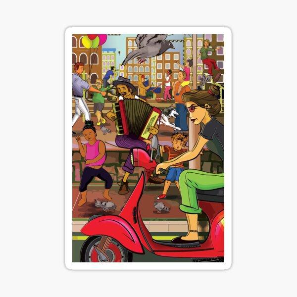 Italian street scene Sticker