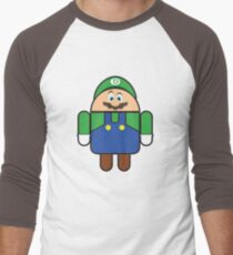 Super Droid Bros. Luigi Men's Baseball ¾ T-Shirt