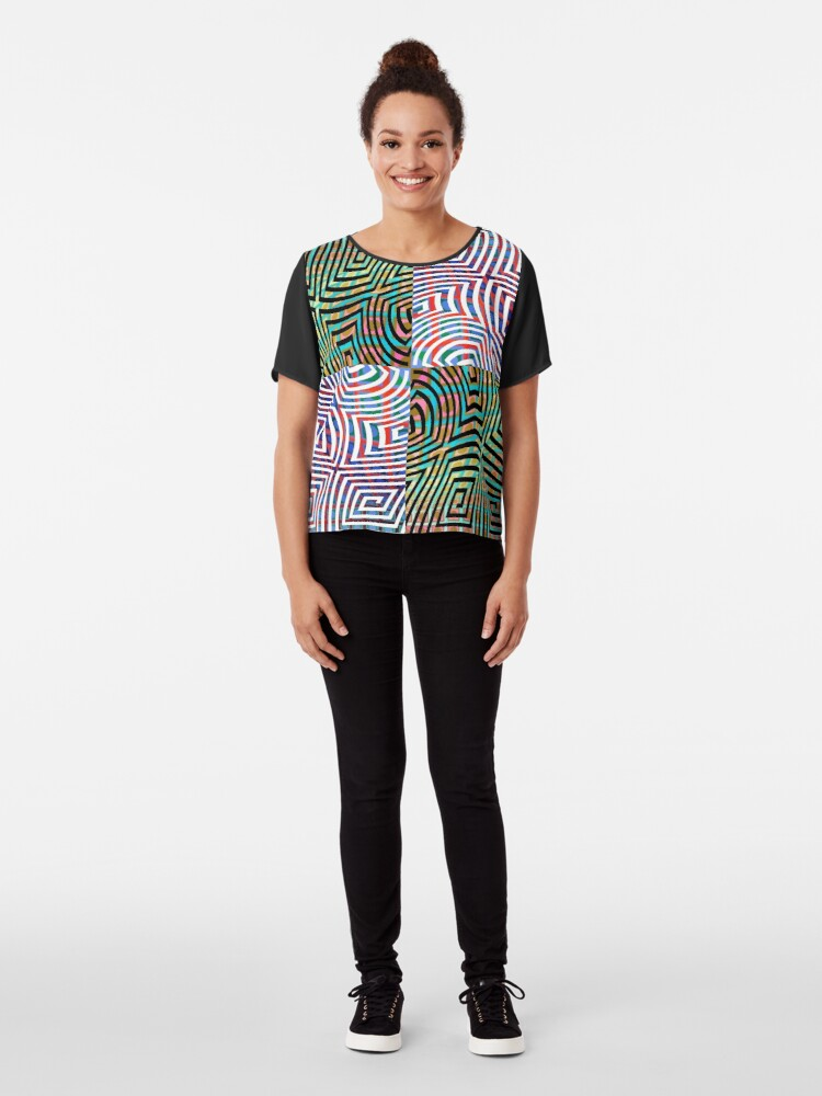 Alternate view of Hypnotic Lines Chiffon Top