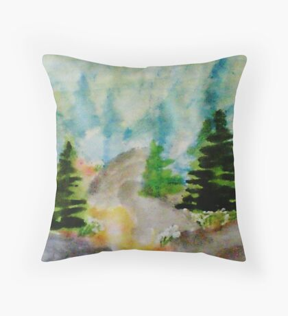 Path up the Mountain, watercolor Throw Pillow