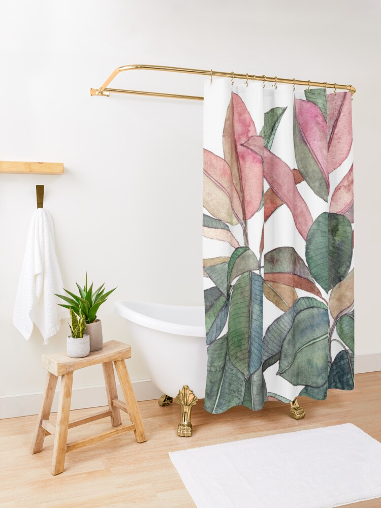 Alternate view of Rubber Plant Shower Curtain