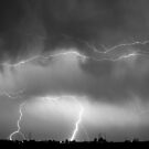 May Showers Lightning Thunderstorm Black and White by Bo Insogna