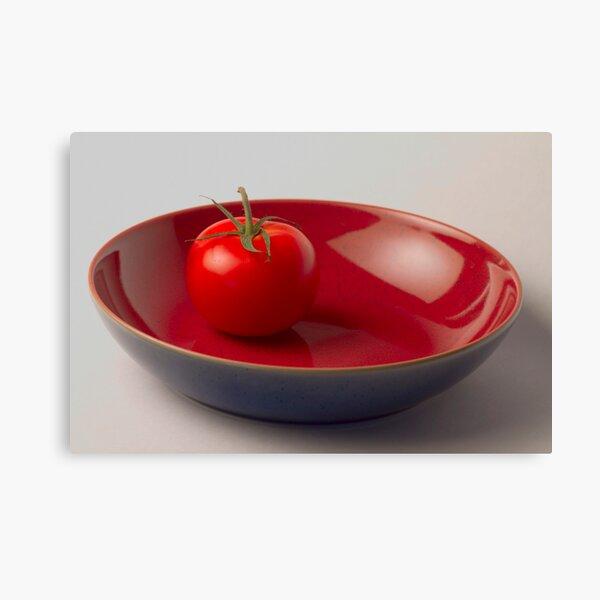 Tomato in Blue Bowl Canvas Print