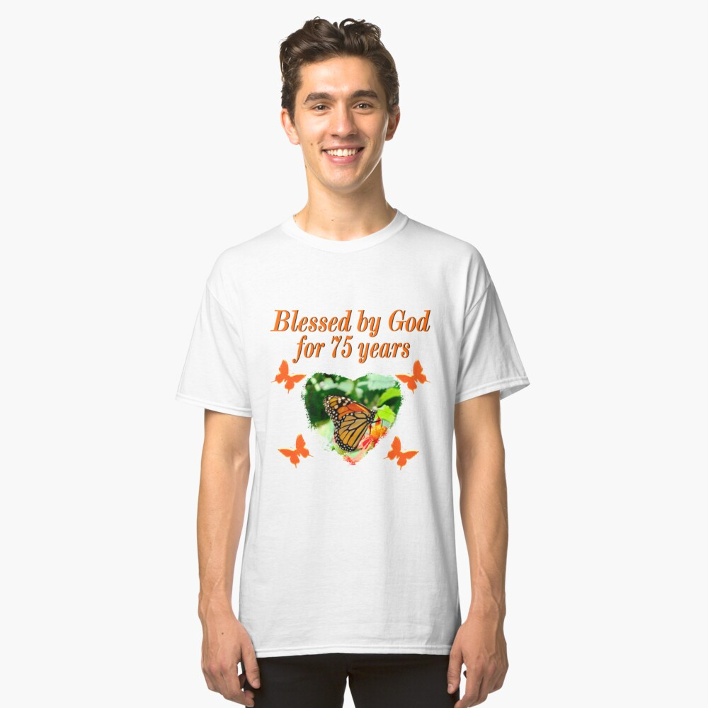 CHRISTIAN 75TH BIRTHDAY BUTTERFLY DESIGN Classic T Shirt Front