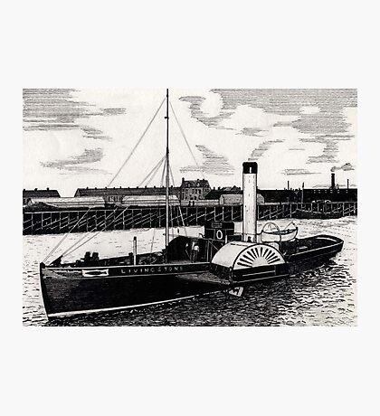 184 - TUGBOAT 'LIVINGSTONE' c. 1910 - DAVE EDWARDS - INK - 1991 Photographic Print