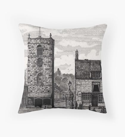 185 - MORPETH MARKET PLACE IN THE 19th CENTURY - DAVE EDWARDS - INK - 1991 Throw Pillow
