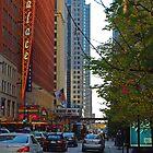 El Train Crossing Chicago Street by TeaCee