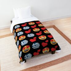 Love Greek Emoji JoyPixels Travel to Greece Comforter