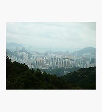 Valley City Surrounded by Jungle Mountains Photographic Print